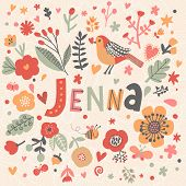 Bright card with beautiful name Jenna in poppy flowers, bees and butterflies. Awesome female name design in bright colors. Tremendous vector background for fabulous designs