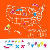Hand drawn US map with map pins