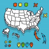Hand drawn US map whith map pins