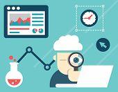 Vector Illustration Of Web Analytics Information And Development Website Statistic
