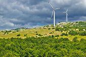 Wind Power Plant Turbines On Velebit Mountain