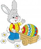 picture of cony  - Rabbit going with a wheelbarrow and a colorfully painted Easter egg - JPG