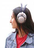 Girl With Wireless Headphones poster