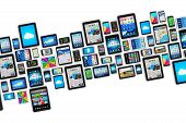 pic of internet icon  - Group of tablet computer PC and modern touchscreen smartphones or mobile phones with colorful display screen interfaces with icons and buttons isolated on white background - JPG