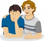 Illustration of a Teenage Boy Comforting His Crying Friend