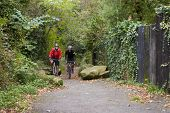 image of bike path  - Two Mature Male Cyclists Riding Bikes Along Path - JPG