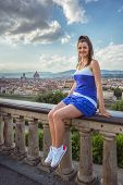 Beautiful Girl Impressed View The Panorama Of Florence