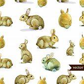 rabbit, hare, pattern, watercolor