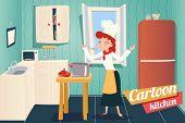 Cartoon Apartment Kitchen Interior House Room Retro Vintage Background Vector Illustration