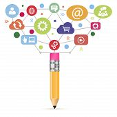 Open creative pencil with icons of education. Vector illustration. Modern educator concept