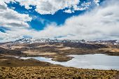 aerial view of Lagunillas in the peruvian Andes at Puno Peru