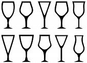 Isolated White Alcohol Glasses Set