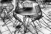 Outdoor cafe, black and white image.