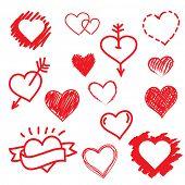 image of xoxo  - Vector set of Hand drawn hearts - JPG