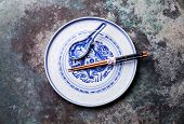 Vintage Asian Porcelain Blue And White Plate And Spoon