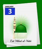 Illustration of January 3 is Eid Milad ul-Nabi