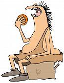 Caveman eating an orange