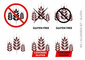 Brown Vector Gluten Free Signs Isolated On White Background