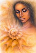 Beautiful Airbrush Portrait Of A Young Woman With Closed Eyes Meditating Upon A Spiraling Seashell
