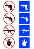 Silhouettes of weapons on road signs