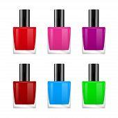 The vector image of nail polish of various colors