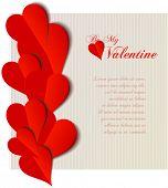 Valentine  hearts cutout design card. Vector illustration
