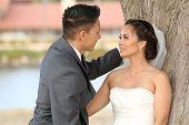 Beautiful happy couple on wedding day