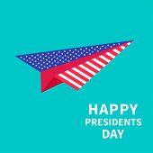 Big Paper Plane Presidents Day Background Flat Design