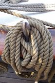 foto of tall ship  - Ropes on deck of an old tall - JPG