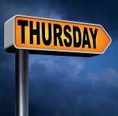 thursday road sign event calendar or meeting schedule reminder