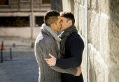 Young Happy Gay Men Couple Kissing On Street Free Homosexual Love Concept
