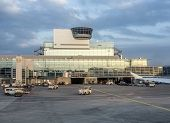 Flight Control Tower At Terminal 1 In Frankfurt In Late Afternoon