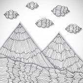 Original hand drawn mountains cut of paper, vector eps10 illustration
