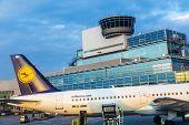 Passengers Airplane In New Terminal 1 In Frankfurt