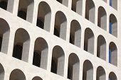stock photo of mussolini  - Palazzo della Civilta Italiana also known as the Square Colosseum in the EUR District in Rome - JPG