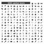 big vector set of 200 object icons