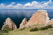 Three brothers rocks Lake Baikal in Russia