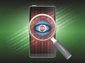 image of virus scan  - Magnifier and virus data in phone with green background - JPG
