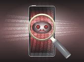 picture of virus scan  - Magnifier and virus data in phone with red background - JPG