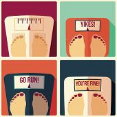 foto of flat-foot  - Collection of four bathroom weight scales flat design vector illustration - JPG