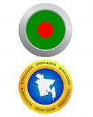 stock photo of bangladesh  - button as a symbol BANGLADESH flag and map on a white background - JPG