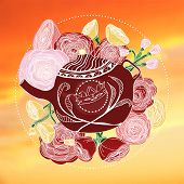 Hand-drawn marsala teapot and roses on a warm colored sky
