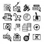 Hacker attack icons set // BW Black & White