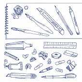 Writing tools - handdrawn set