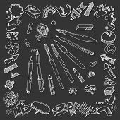 Hand-drawn writing tools. Freehand drawings - symbols, words and arrows.