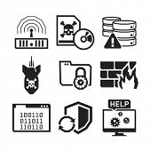Computer Virus protection icons set // BW Black & White