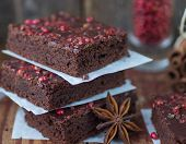stock photo of brownie  - chocolate and pink pepper brownie cakes - JPG