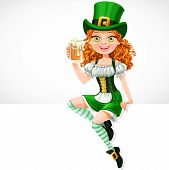 Beautiful Girl Leprechaun Sitting On The Banner White And Offers A Beer