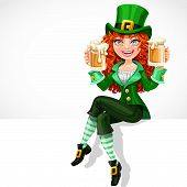 Beautiful Red-haired Girl Leprechaun Sitting On The Banner White And Offers A Beer