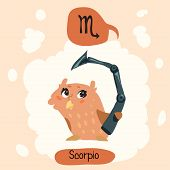 stock photo of scorpio  - Colored cute owl horoscope - JPG